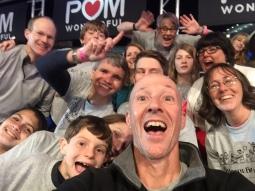 Group selfie in stands